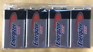 4 Energizer Max 9V 9 Volt 522 Alkaline Batteries  Exp. 2025