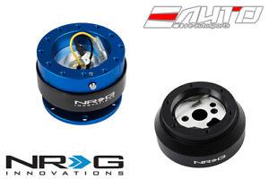 NRG Steering Wheel Short Hub SRK-170H + Blue Gen2 Quick Release Ti Chrome Ring a