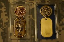 Key Chain US Air Force Lt Colonel  0-5 Rank Dog Tag with chain necklace brass