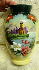 Antique BRISTOL Glass ENAMELED Hand Painted  FOOTED Vase  GOLD TRIM 10 1/2''