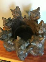 Large Vintage Circle of Cats Candle Holder