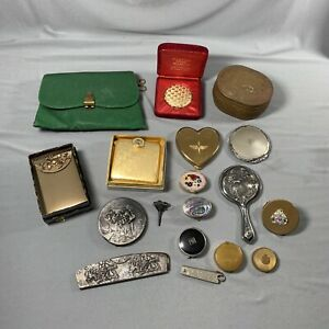 Vtg Vanity Junk Drawer LOT Compacts Pill Boxes Other