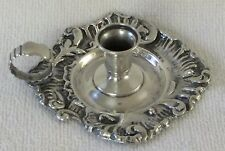 Chamberstick Candle Holder sterling silver scroll and foliate Redlich