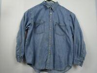 Mens Levis XL Blue Long Sleeve Rivet Button Front Red Tab Denim Jean Shirt