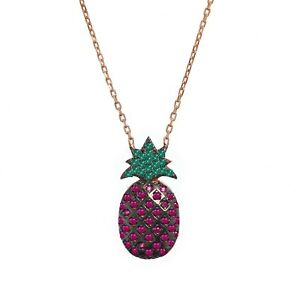 Very cute PINEAPPLE Necklace Rose Gold on Sterling Silver Boxed Gift RRP £69