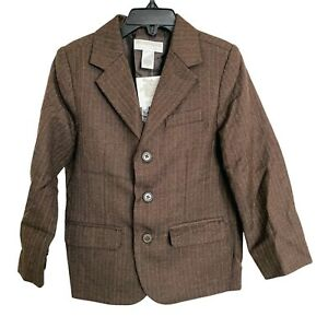 Janie & Jack Brown Pinstripe Button Collared Boy's Suit Jacket NWT Size 4T
