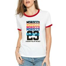 Morocco Paradise Funny T-Shirt Womens Cotton Ringer Short Sleeve Casual Tee Tops