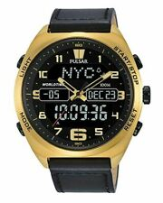 Pulsar Men's Analog-Digital Watch with World-Time and Leather Strap - PZ4042X1