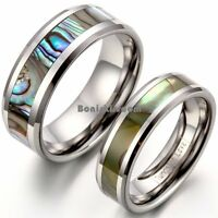 Tungsten Carbide Ring Abalone Shell Men's Women's Couple Engagement Wedding Band