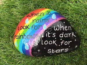 HAND PAINTED PEBBLE STONE WHEN IT RAINS LOOK FOR RAINBOWS STARS GARDEN ART GIFT