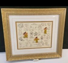 Vintage Disney Framed Numbered Dopey Model Sheet Art Print and 3 Pin Set w/ COA