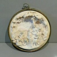 Vintage Plaster Relief Plaque Depicting a Classical Scene