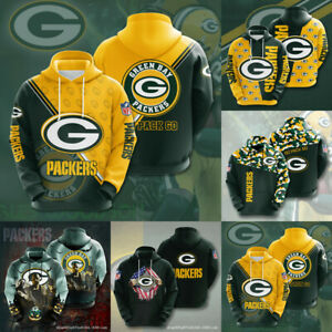 Green Bay Packers Hoodie Football Sweatshirt Men's Casual Jacket Hooded Pullover
