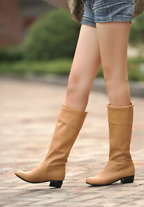 Womens Fashion Fur Lined Cuban Heels Casual Party Outdoor Ladies Mid-Calf Boots