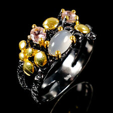 Vintage Natural Moonstone 925 Sterling Silver Ring Size 8.5/R103390