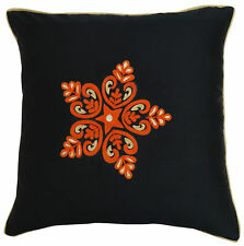 Black Square Pillow Case Floral Embroidered Poly Dupion Sofa Cushion Cover