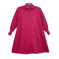 Vintage 70's VASSARETTE Hot Pink House Dress Robe Zip Front Sz S / M Small Med