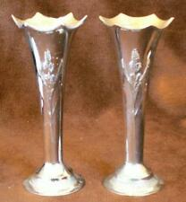 Pair silver coloured chrome metal spill flower vases vintage English 5.5-in tall