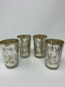 Copperleaf Tealight Candle Holders Set Silver Mercury Glass Reproduction New