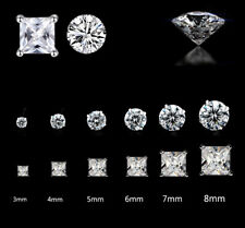 925 STERLING SILVER EARRINGS STUD CUBIC ZIRCONIA ROUND SQUARE CLEAR STONE CZ UK