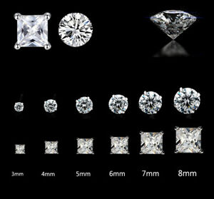 925 STERLING SILVER EARRINGS STUD CUBIC ZIRCONIA ROUND SQUARE CLEAR STONE CZ