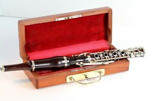 """Antique """"FLAGEOLET"""" piccolo flute stamped Ouvrard (Marans..), in granadillo wood"""