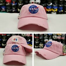 PINK Field Grade Distressed NASA Brand Dad Strapback Snapback Hat