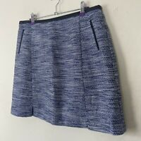 Oasis Skirt 14 Blue Mix Short Woven Boucle Navy Career Work Split Business Aline