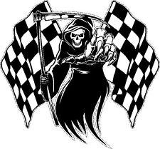 Racing Grim Reaper Skull chequered racing flag Car  Bike Van Sticker LSGRChqm