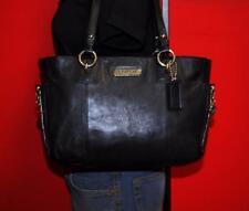 "COACH ""Gallery"" Black Leather E/W Shopper Tote Shoulder Medium Purse Bag 19252"