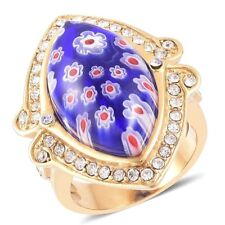 MURANO ITALIAN GLASS ROYAL BLUE FLOWER WHITE AUSTRIAN CRYSTAL RING SIZE 7 NEW