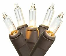 100 Clear Mini Small Christmas Outdoor String Lights Bulbs With Wire Brown Clear