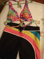 ARIZONA S Push-Up Swim Halter Bra OP Small Board Short NWT Swimsuit