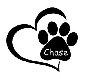 PAW DOG WITH NAME IN HEART DECAL STICKER CARS LAPTOPS WINDOWS BUMPER