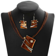 Perfect Gift Rope Silver Plated BROWN African Jewelry Set Drop Earrings Necklace