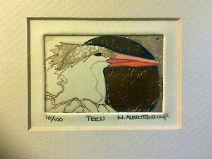 """Margaret Albritton IMP """"Tern"""" Drawing Print Signed 10/100 Birds Goldleaf Florida"""