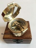 "Brunton Pocket Transit Compass Brass Antique Vintage Nautical 2.5"" Steampunk"