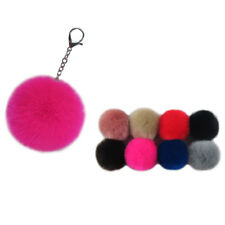12pcs Silver Plated Key Ring Pompom Key Chain Ball Faux Rabbit Fur Fluffy Lot