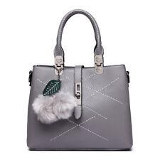 Ladies DESIGNER Long Handle Tote Shoulder Handbag Reversible PU Leather Bag E1751 Grey