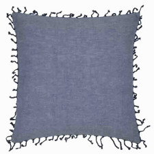 Hamptons Style Summer Blue with Knotted Fringe Cushion Cover RRP $39.95 50x50cm