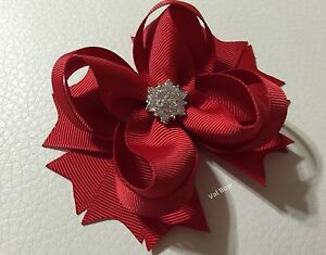 Handmade Small Solid Red Christmas Boutique Stacked Hair Bows
