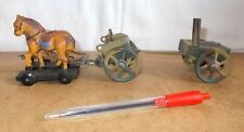 vintage toy - foreign HAUSSER ELASTOLIN - HORSES, CART & FIELD KITCHEN - 20/30S