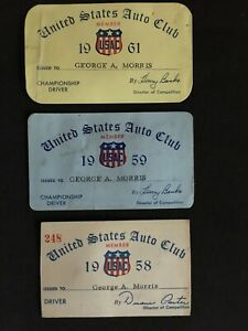 1958-61 United States Auto Club (USAC) Official George Morris Membership Cards (