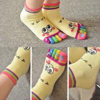 1 pair Women Girls Cartoon Smile Five Fingers Trainer Toe Ankle Yoga Sport Socks