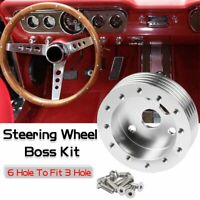 """1"""" Steering Wheel Hub Adapter Conversion Spacer 6 Hole to 3 Hole Silver"""