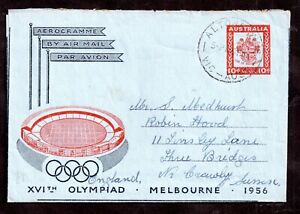 Australia 1956 Melbourne Olympics Air Letter cover to UK WS14951