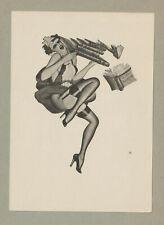 "Ex libris Art Deco erotic Exlibris ""Girl with book"" by BOLLES ENOCH / England"