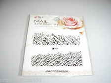 Nail Tip Art stickers water decals transfer Wrap Black Animal Print  D367