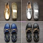 2017 Mens Bowtie moccasin-gommino Soft Gold Slip On Loafers Pumps Driving Shoes