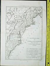Map of the American area on the east coast from Canada to Florida,Bonne,1787